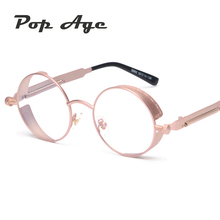 Pop Age Newest Round Pink Steampunk Clear lens glasses Men Women Spring leg Glasses Vintage Eyeglasses Optical Spectacles Gafas