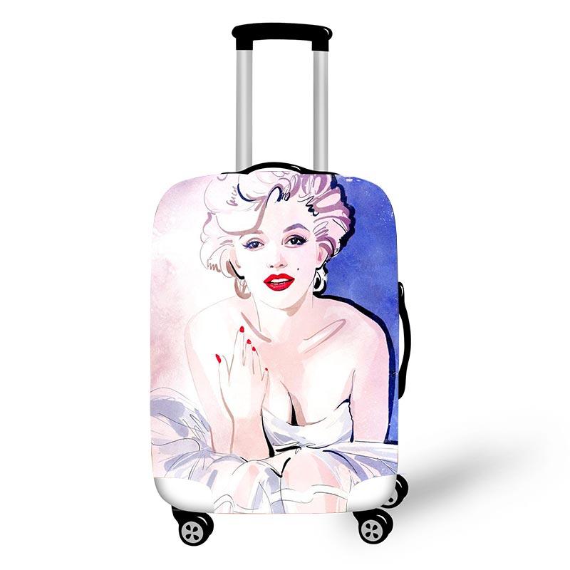 Marilyn Monroe Voyage Bagages Housses De Protection Pour Les Filles bagages roulette Monro Avec Gun Femmes Valise Couverture Voyage Accessoire