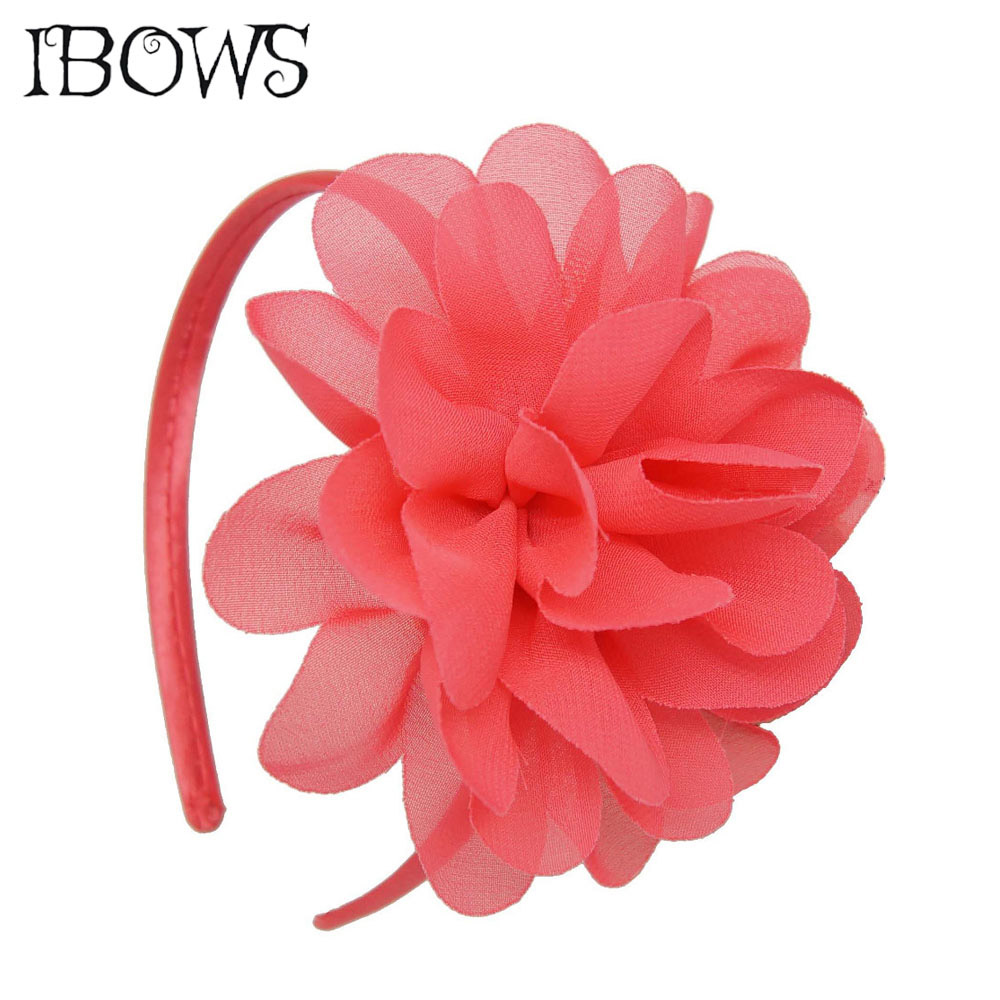 Shabby Chiffon Flowers Hair Bands For Children High Quality Headband Girls Big Flower Bow Hairband Accessories kids shabby flower lace headband elastics for hair child head hair bands hairband hair accessories ornaments for newborns girls