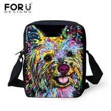 FORU Designer Messenger Sacs pour Femmes Hommes Lady Bandoulière Sacs, Bolsos Mujer Yorkshire Terrier Bull Dog Imprimé Épaule sac 2017