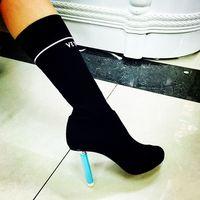 New Design Classic Lighter Inspired High Heels Elastic Sock Ankle Boots Women Knitting Over The