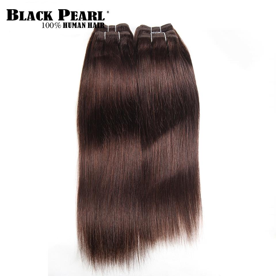 Black Pearl Pre-Colored Yaki Human Hair 4 Bundles One Pack 190 Gram Brazilian Straight Hair Weave Color 2# Non-Remy Hair