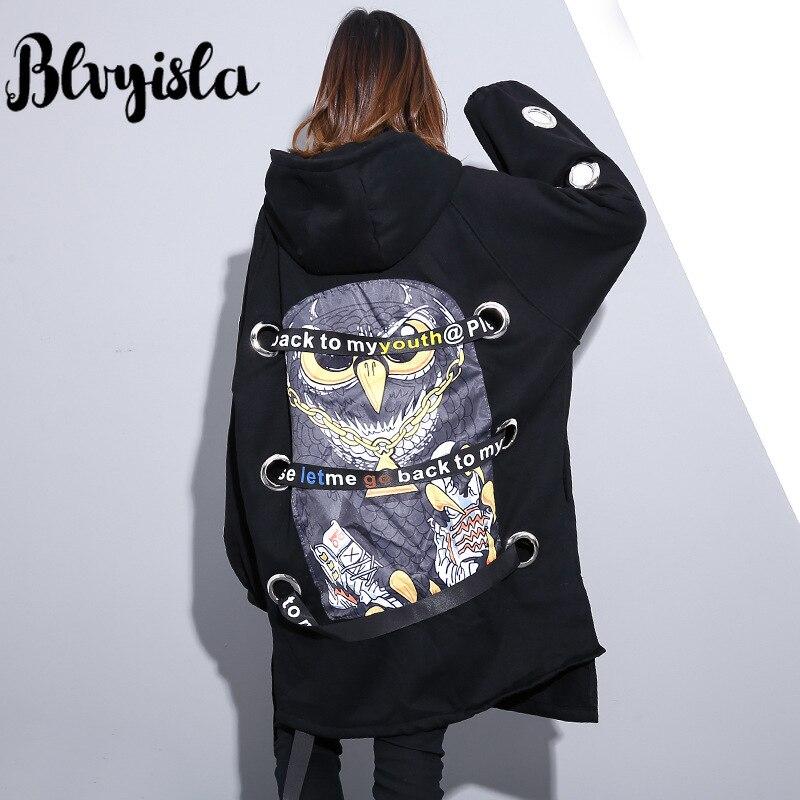 Blvyisla с принтом Совы металлическое кольцо лоскутный свитер большой размеры на молнии готические Толстовки Черный улица панк пара Специальн