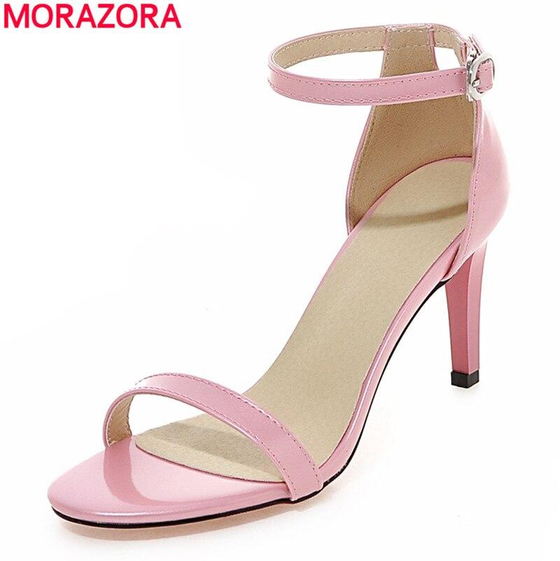 MORAZORA 2018 new fashion women sandals ankle strap high heels summer simple sweet wedding shoes woman pink white blue black рюкзак hama sweet owl pink blue