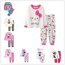Купить с кэшбэком Baby Girl Pajamas Set Toddler Kid Minnie Mickey Pijamas Long Sleeve Pyjamas Set Autumn Children Clothing Cartoon Suit Sleepwear