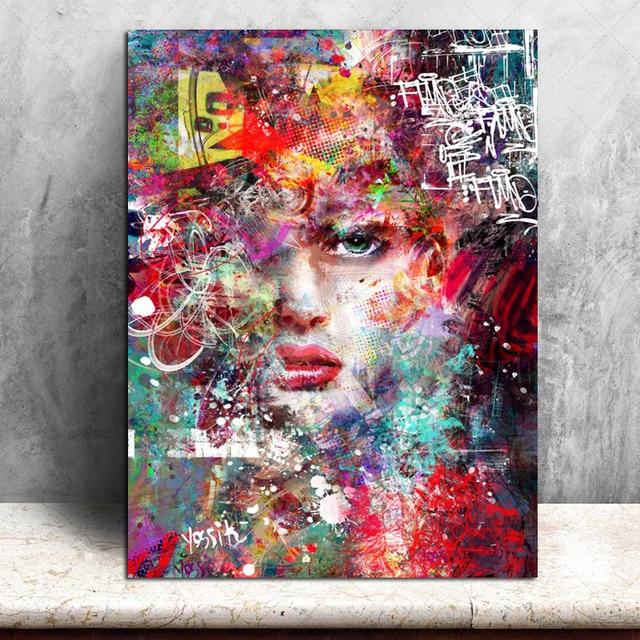 Us 11 6 20 Off Multi Design Graffiti Art Canvas Girl Portrait Poster Print Woman Face Picture Modern Wall Art Painting Graffiti Artwork In Painting