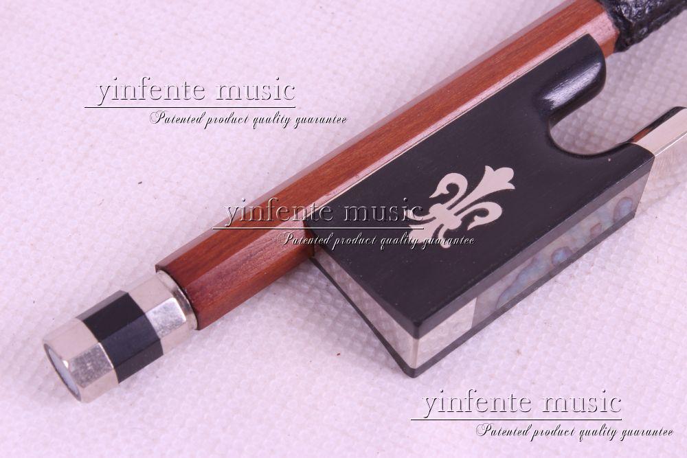 ФОТО 1pcs Brazilwood Round Stick 4/4 violin Bow Ebony Frog Flower Inlaid 4/4 #26+