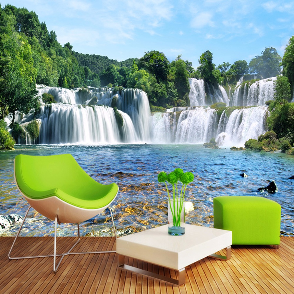 Custom Photo Wall Paper 3D Modern Living Room Sofa TV Background Wallpaper Waterfall Running Water 3D Landscape Mural Wallpaper