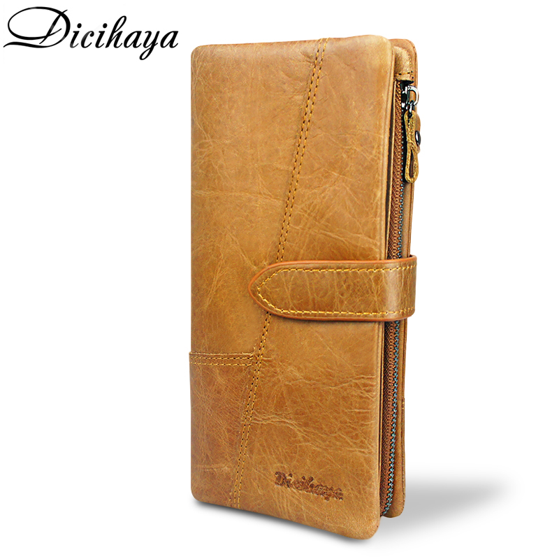 DICIHAYA Luxury Brand 100% Genuine Cowhide Leather Vintage Wallet Male Wallet Men Long Clutch Bag with Coin Purse Zipper Pocket hot genuine leather men wallets long zipper coin purse 2018 luxury brand vintage male clutch cowhide leather wallet card holder