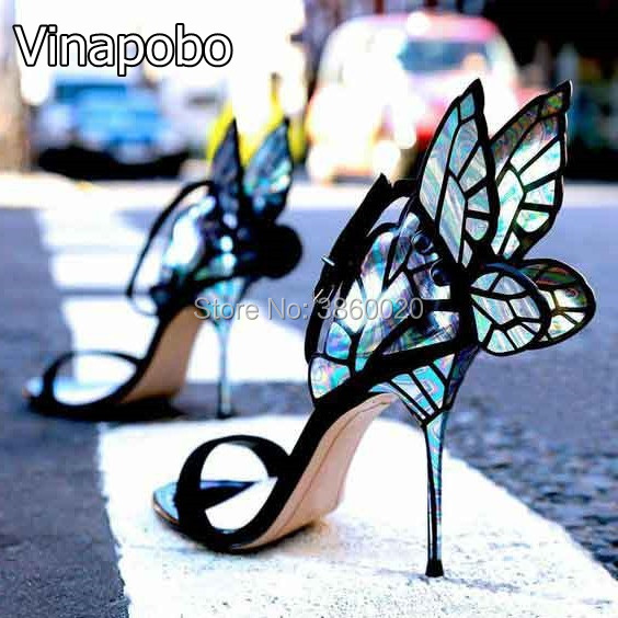 2018新デザイン高品質女性蝶ハイヒールサンダル絶妙な美しい翼靴女性宴会パティドレス靴  グループ上の 靴 からの ハイヒール の中 1