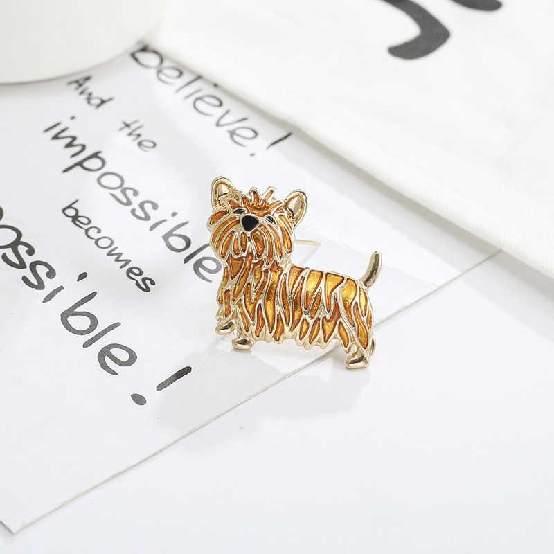 CHIELOYS tek renkli alaşım sevimli aslan köpek kadınlar için broş şapka eşarp klipleri kuyumcular BR009
