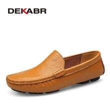 DEKABR Tamaño Grande 36 ~ 50 de Alta Calidad Los Hombres de Cuero Genuino Zapatos Mocasines de Los Holgazanes Hombres de Marca de Moda Pisos Comfy Suave Zapatos de conducción