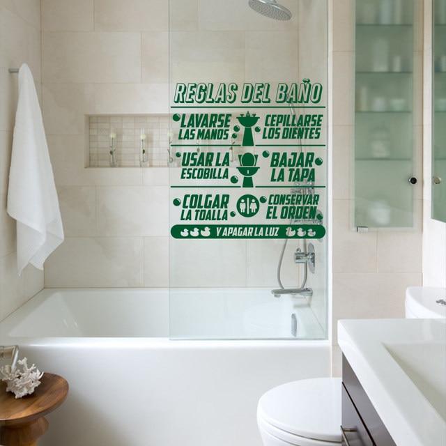 Online Shop Art Design Bagno regole in Spagnolo bambini Quote wall ...