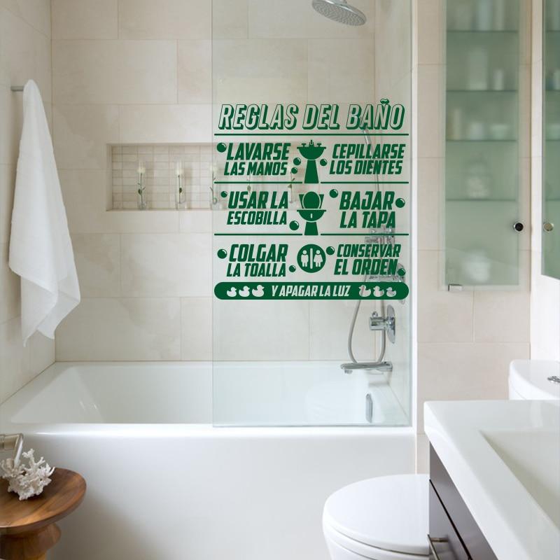 Art Design Zasady łazienki w języku hiszpańskim Cytat Naklejka - Wystrój domu - Zdjęcie 6
