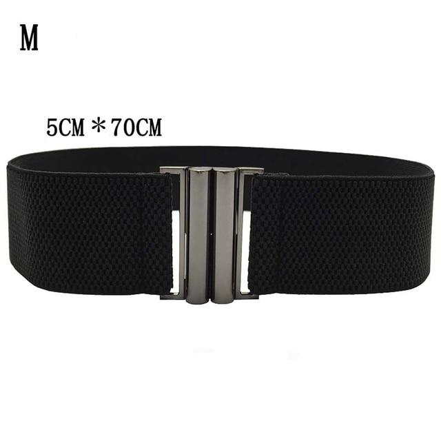 Elastic Band Wide Belts Simple Down Coat Waist Belts Female Buckle Cummerbund Black Strap Dress Decoration Gifts 3