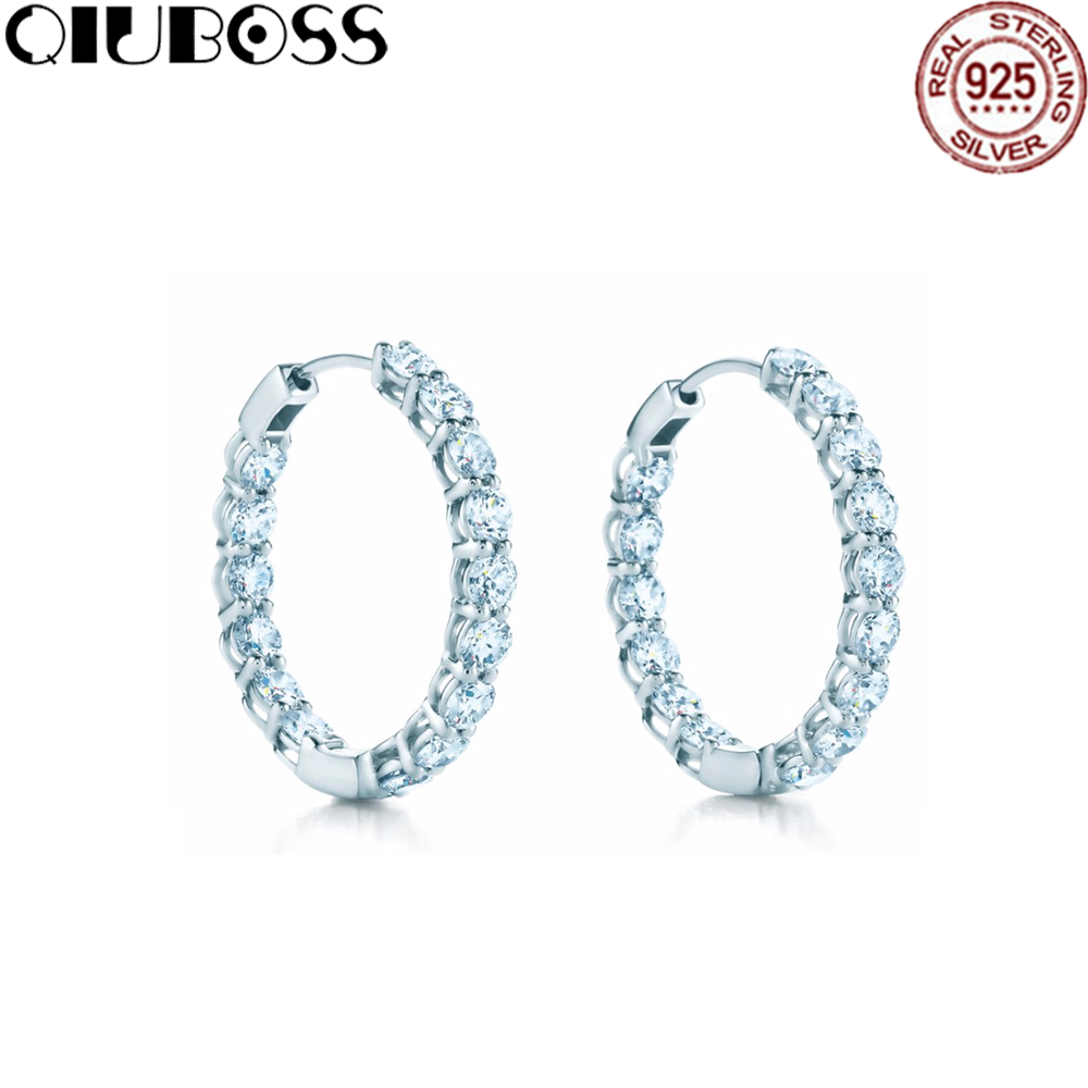 QIUBOSS S925 Tiffanysilver circle earrings personality temperament super flash all diamonds wild rhinestone earrings