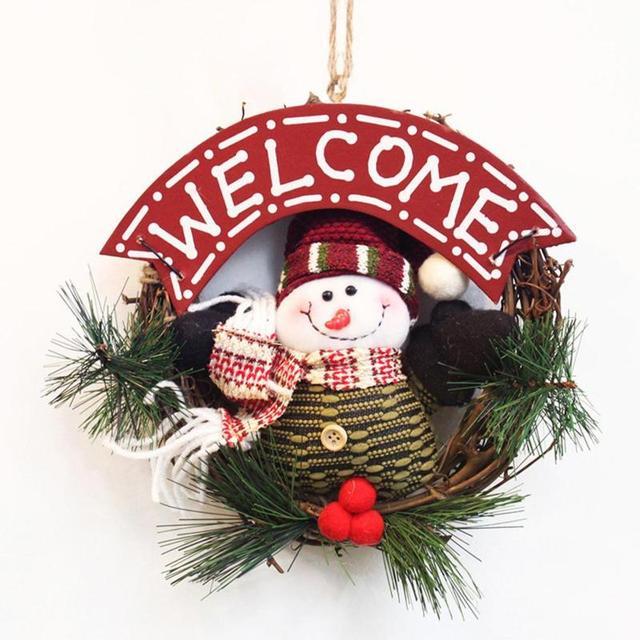 Inicio Feliz Navidad.Aliexpress Com Comprar Feliz Navidad Guirnaldas Snowmen Santa Claus Puerta Colgante Adornos Anillo Rattan Guirnaldas Inicio Navidad Decoracion 15 De