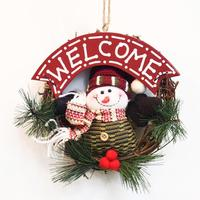 Merry Christmas Wreaths Snowmen Santa Claus Door Hanging Ornaments Rattan Ring Garlands Home Christmas Decorations 15