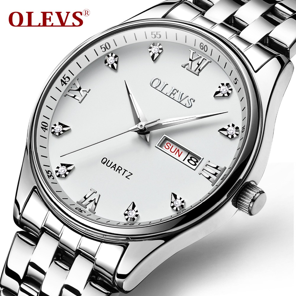 relojes hombre Men Watch OLEVS Top Brand Luxury Quartz Water Resistant Wristwatches Fashion Stainless Steel Clock Man Watches цена