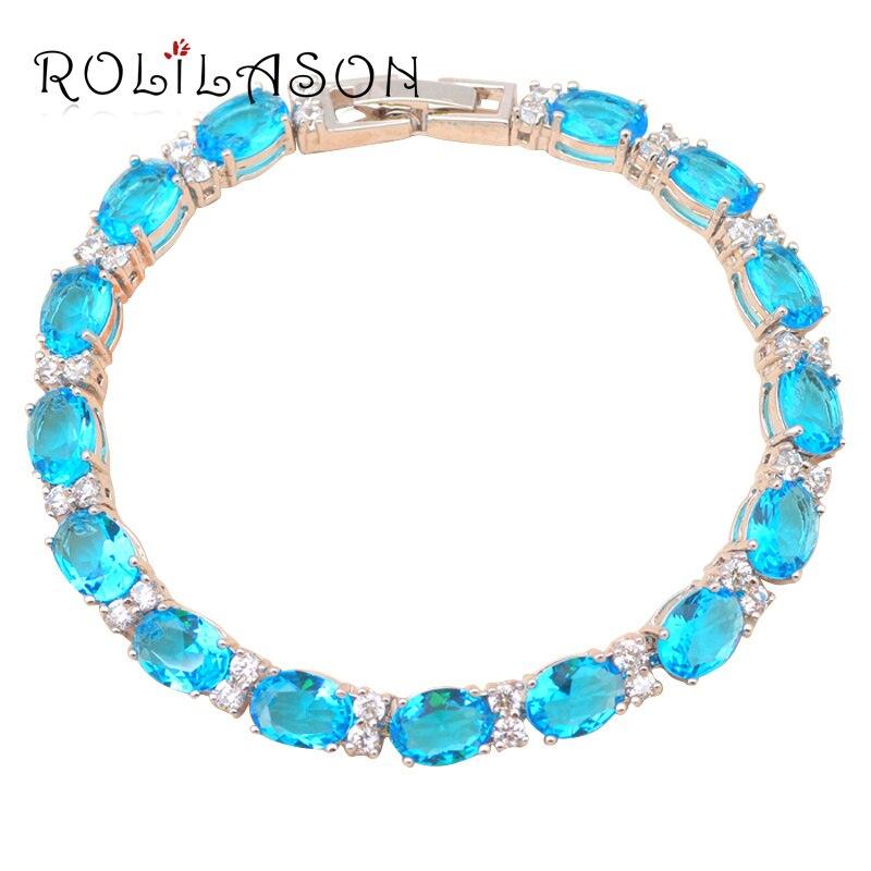 NºEl mejor regalo para las señoras AAA ZIRCON cristal azul pulseras ...