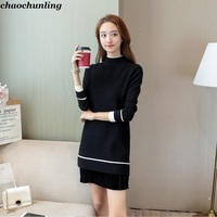 2018 New Winter Lady Long Dress O Collar Pullovers Europe And America Women Long Sleeve KnittingThick