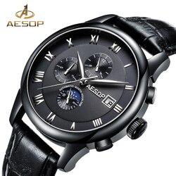 AESOP zegarek męski automatyczny zegarek mechaniczny czarny skórzany męski zegarek na rękę męski zegar mężczyźni Relogio Masculino