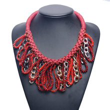 Big Retro Red Beaded Pendant Necklace Tassel Necklace For Women Cheap Statement Necklaces Wholesale Jewelry Red Collar YT0887