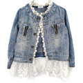 Spring Autumn Lovely girls outerwear Lace Cowboy Jacket Denim Top Button Costume Outfits Jean Coat Kids Girls Clothing for 2-7T