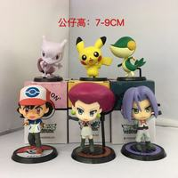 Gratis Verzending 6 stks Anime Cartoon Ash Ketchum & Rocket Effen 2nd Ver. Boxed PVC Action Figure Collection Model Poppen Speelgoed Gift