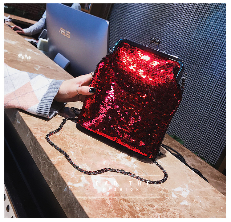 Women Clucth Bling Bling Sequins Evening Bag Ladies Party Purse Handbag Shiny Mermaid Chain Shoulder Bag Dinner Phone Bag