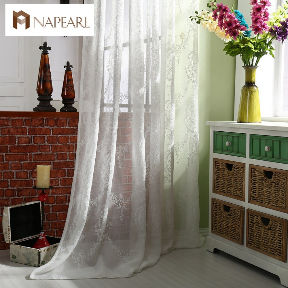 Modern Linen White Tulle Curtains White Window Drapes Lace Living Room Curtai