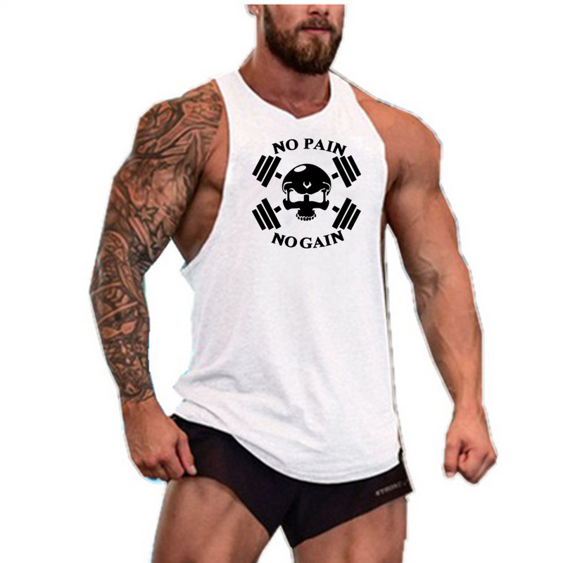 Sleeveless Gym T Shirt Men Running Shirt Summer Vest Cotton Breathable Mens Tank Top Gym Workout Fitness T-Shirt Sport Shirt