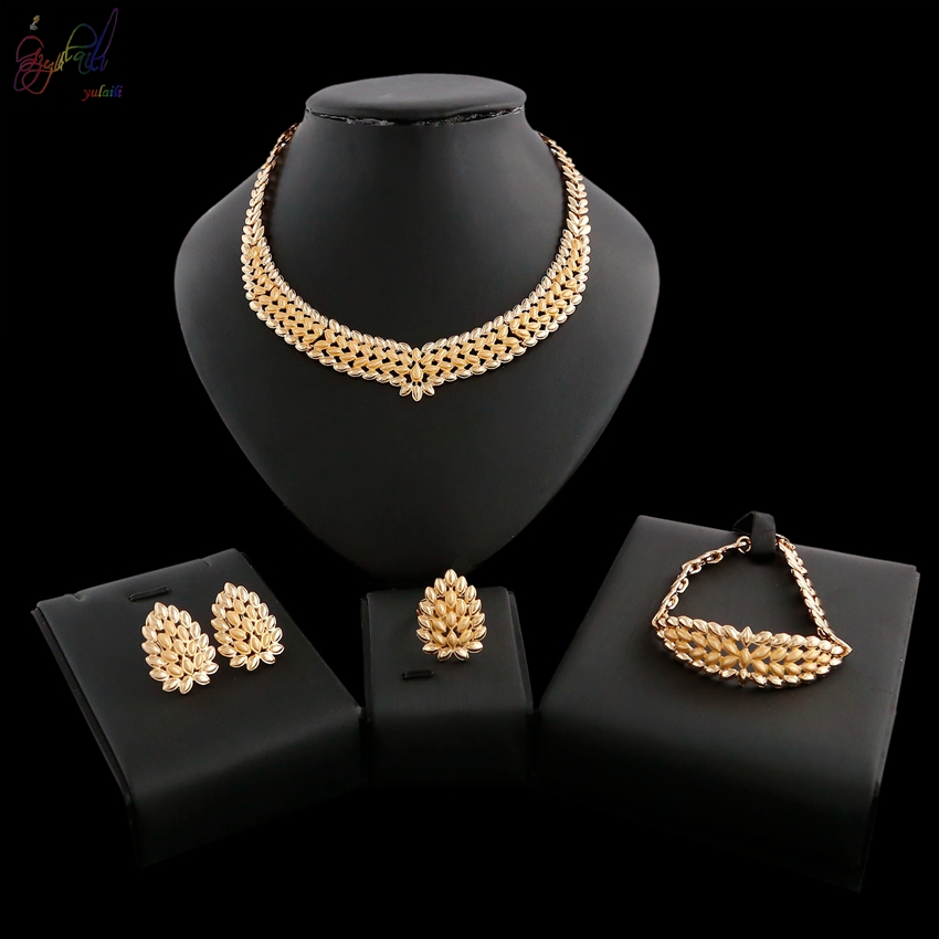 YULAILI Fashion Round Design Zinc Alloy Jewelry Sets for Women Earrings Necklace Bracelet Ring Gold Color Party Accessories retro style zinc alloy owl earrings for women golden