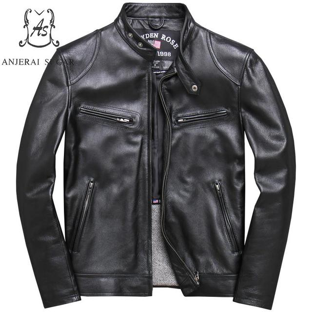 Plus Size genuine cow leather jacket men Vintage black casual zipper pocket Special Offer Clearance Motorcycle jacket men's coat