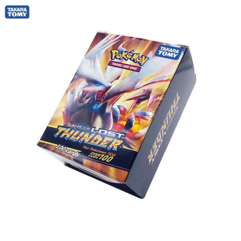 Tomy Pokemon 100PCS GX EX MEGA Cover Flash Card 3D Version LOST THUNDER Card Collectible Gift Children Toy