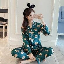 Оптовая продажа с фабрики Для женщин удобные Шелковый пижамный комплект с принтом для девочек пижамный комплект пижама с длинными рукавами костюм Для женщин комплект одежды для сна