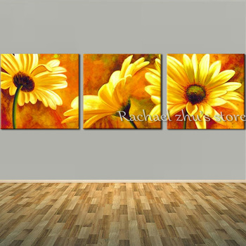 Hand Painted Yellow Daisy Flower Oil Painting On Canvas Three Panles Flower Paintings Wall Picturers For Living Room Home Decor