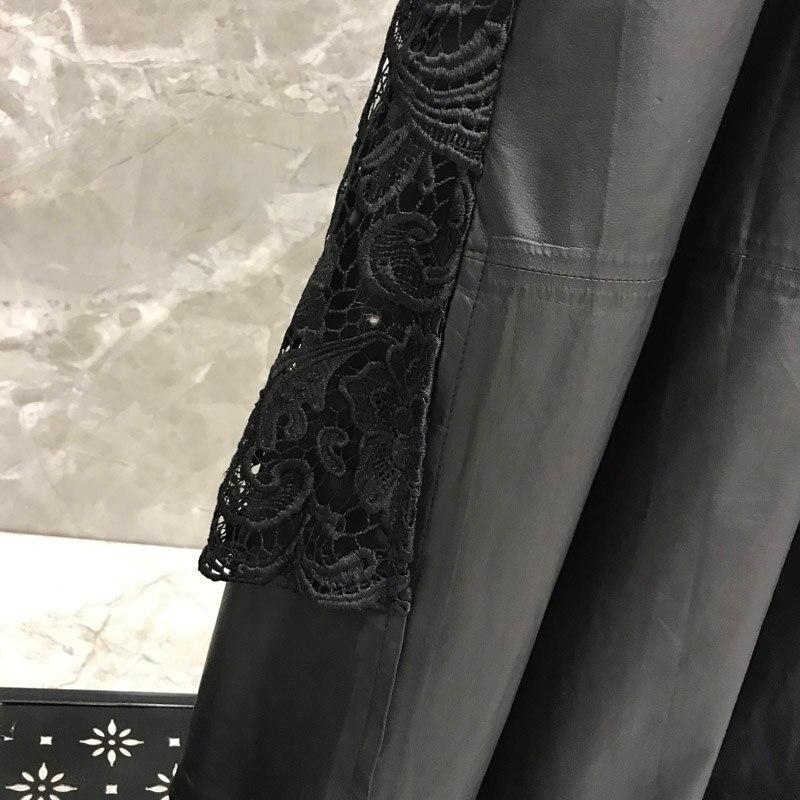 Mouton Vêtements Femme Vestes Vintage Black Veste De 2019 Mode Véritable En Long Dames Cuir Peau Noir Manteau qr4z6q