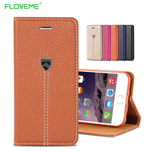 FLOVEME Luxury Retro Leather Case For iPhone 6 6S 7 8 Plus X Phone Accessories Stand Flip Full Body Wallet Cover For iPhone 8 X