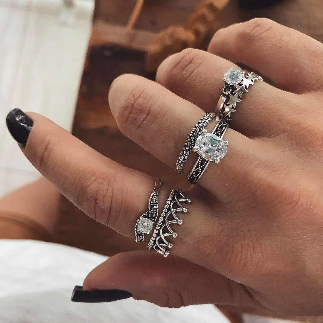 2018 Bohemia punk ethnic crown stars cross crystal ring set , 6 piece ring Boho Female Charms Jewelry Knuckle Rings for women