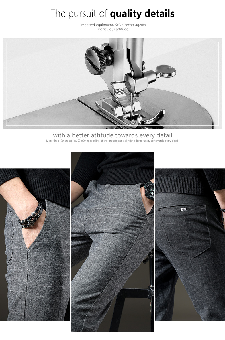 HTB1hzUZJ7KWBuNjy1zjq6AOypXaz jantour Brand Pants Men Casual Elastic Long Trousers Male Cotton lattice straight gray Work Pant men's autumn Large size 28-38