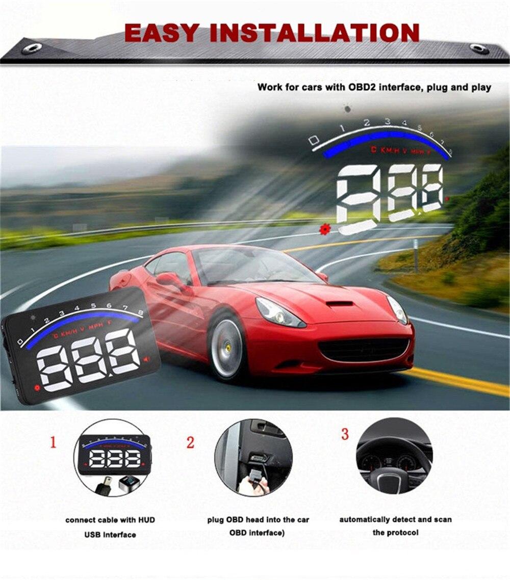 2019 nouvelle voiture HUD affichage tête haute M6 OBD2 II EUOBD système d'avertissement de survitesse projecteur universel voiture AUTO HUD affichage