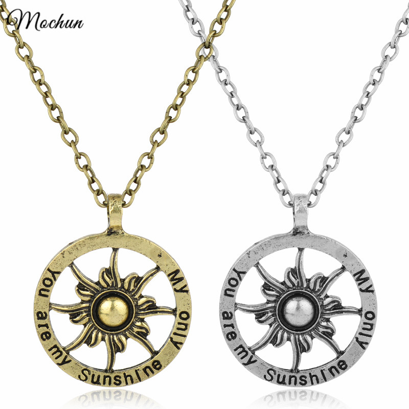 MQCHUN 2017 You Are My Sunshine My Only Sunshine Charm Pendant Necklace Fashion Sun Jewelry For Mom Daughter Aunt Niece 2 Colors
