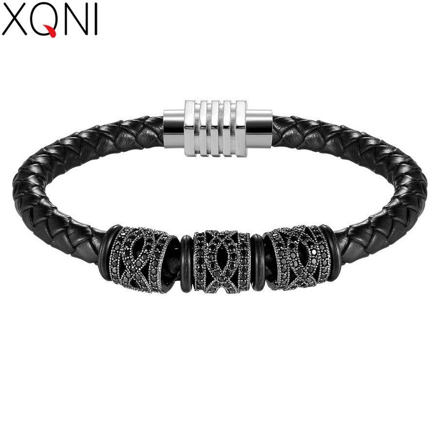 XQNI Gold/Steel/Black/Rose gold Geometric Combination Bracelet For Men Women Genuine Leather Bracelet&Bangle Retro Jewelry