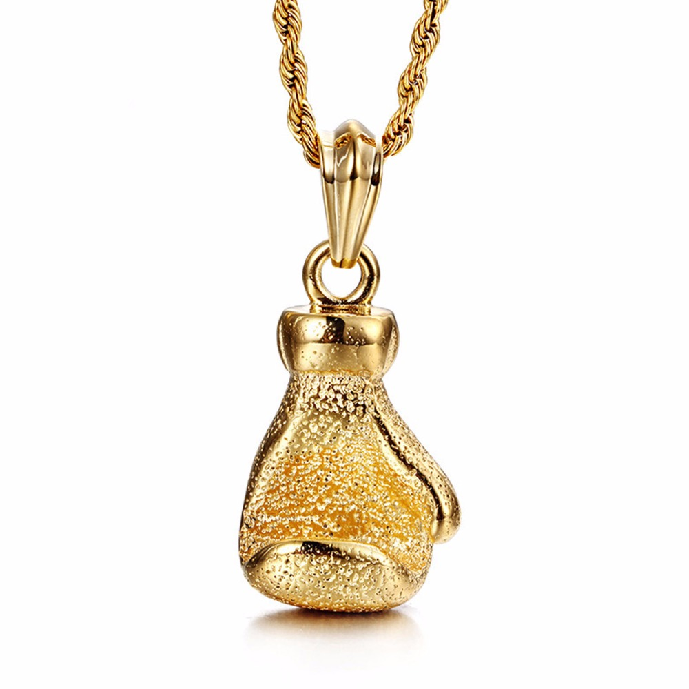 Fashion Big Fist Necklace Men S Stainless Steel Gold Color
