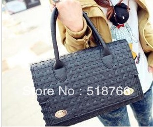 2013 New Women Deisgner Bag Handbag Fashion Knitted clover OL Shoulder Bag Leather Vintage Elegant Commuter Tote Free Shipping