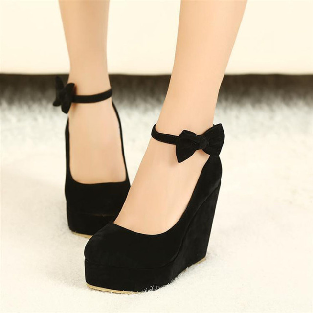 Female Shoe Vogue Black Bow Wedges High Heels Women Cute Buckle ...