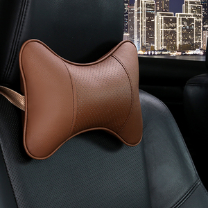 Image 5 - Car Neck Pillows 2 sides Pu Leather head support protector black/red universal headrest backrest cushion easy install and clean
