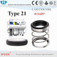dia 2.625 inch seal Equal to Johncrane Type 21 with cup/boot stationary seat elastomer bellow mechanical seal vulcan 11