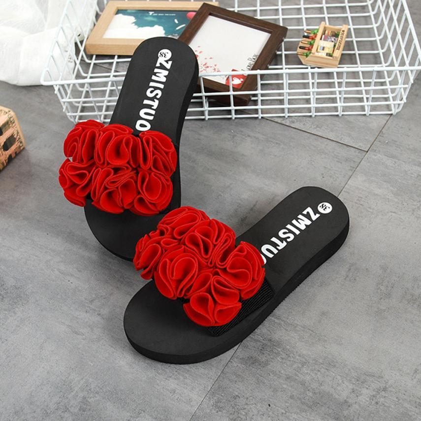 c5a73f926ac63 SAGACE shoes woman 2018 Women Flower Summer Sandals Slipper Indoor Outdoor Flip  flops Beach Shoes Thick bottomed flip flopsMay11-in Flip Flops from Shoes  on ...